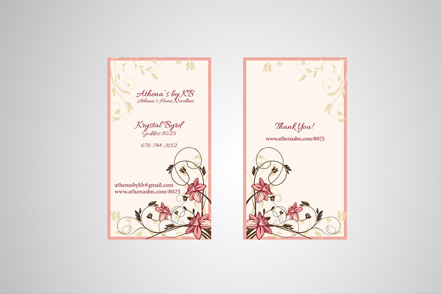 Business card for Athena's by KB