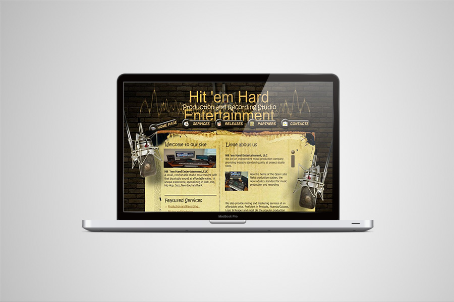 Website design for Hit 'Em Hard